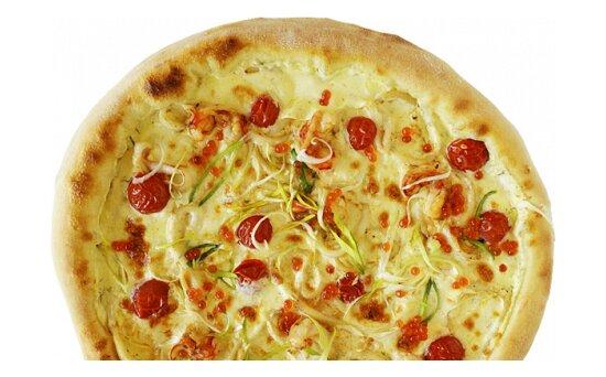 Пицца с лангустинами, кальмарами и красной икройXXL