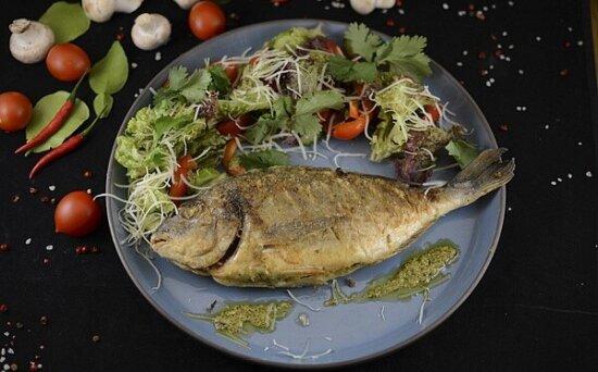 Дорадо с салатом из свежих овощей и соусомПесто