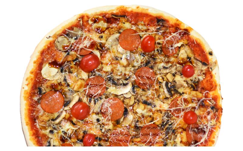 Пицца с курицей и соусом терияки