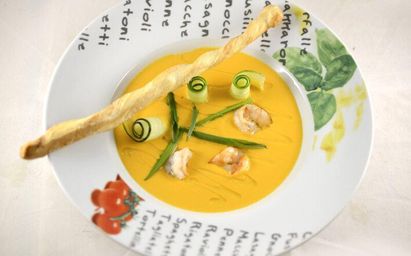 Крем-суп сливочный с креветками